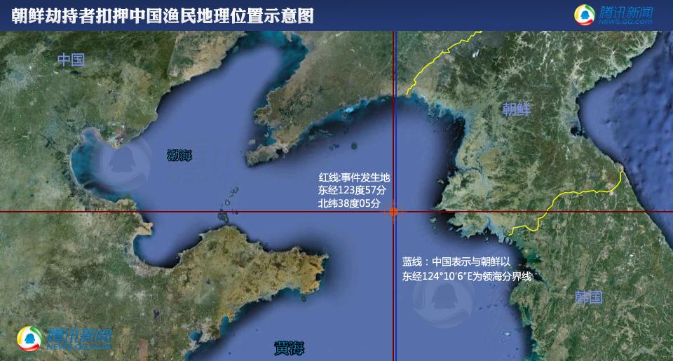 朝鲜劫持者扣押中国渔民事件地理位置示意图