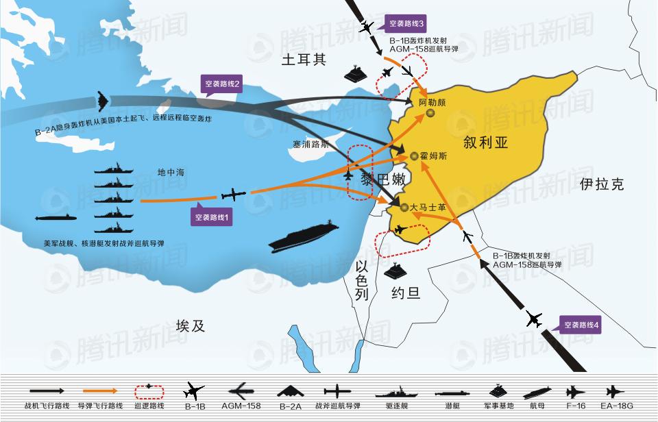 美军对叙利亚空袭方案猜想图
