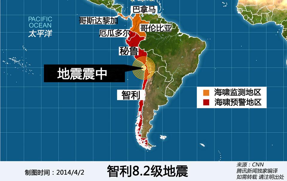 智利8.2级地震示意图