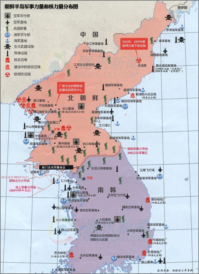 朝鲜半岛军事力量和核力量分布图