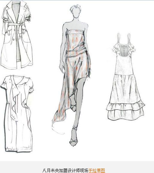服装模特图片手绘原稿