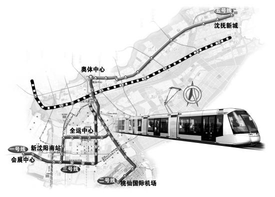沈阳浑南新区现代有轨电车线路走向