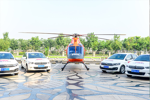 直升机与查勘车