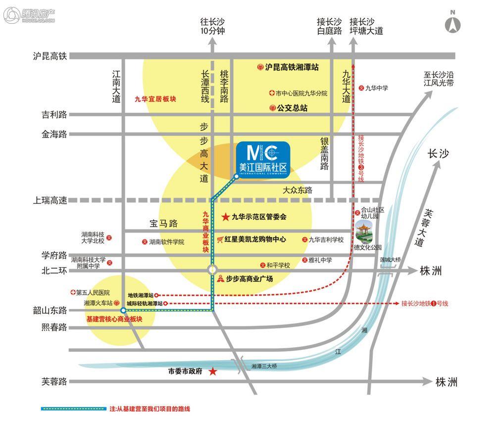交通:★★★ 美江国际社区位于湘潭市九华示范区大众东路与桃李南路