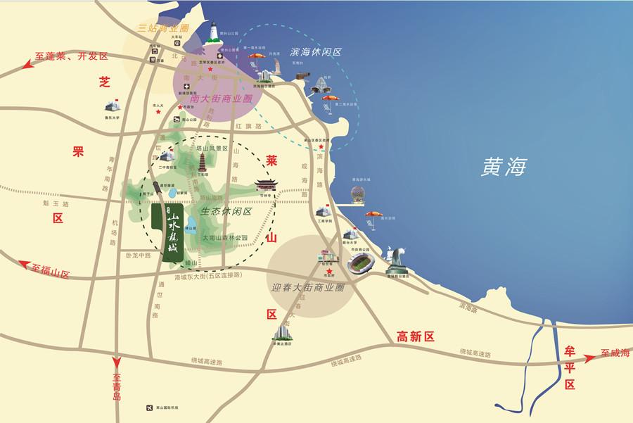 煙臺塔山風景區地圖