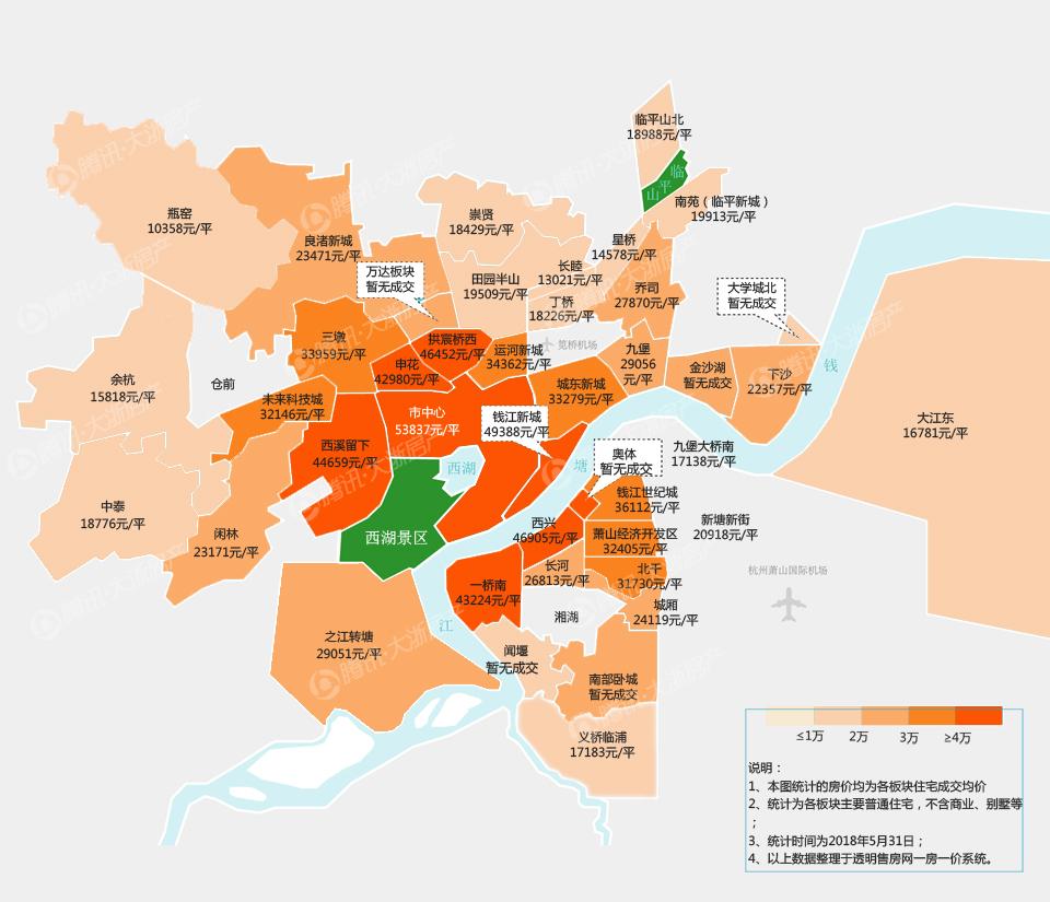 2018年5月杭州楼市板块房价地图